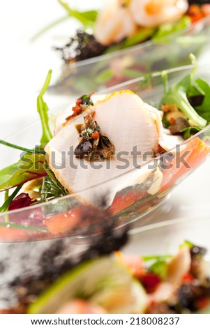 Buffet Seafood Salad on White Dish - stock photo