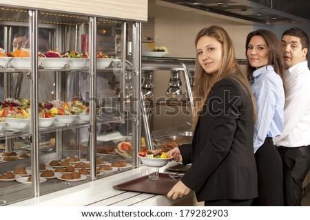 buffet self-service food display - stock photo