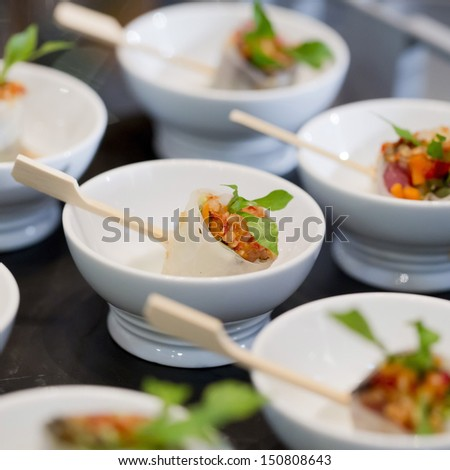 Buffet style food in trays - a series of RESTAURANT images - stock photo