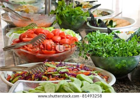 Buffet style salad - stock photo