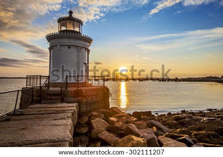 Bug Light Lighthouse in Portland Maine at sunrise - stock photo