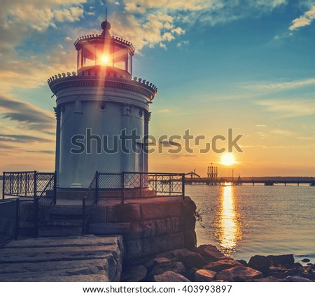 Bug Light Lighthouse in Portland Maine at sunrise with Instagram style filter - stock photo