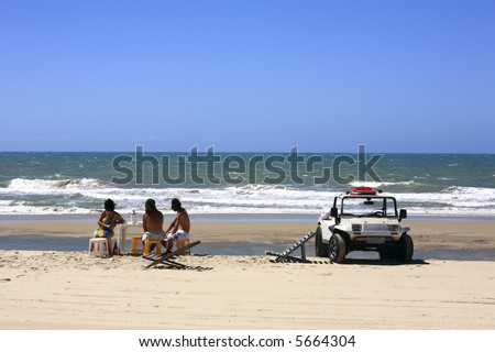 buggy tour and lunch  and prainha beach near fortaleza in ceara state in brazil - stock photo