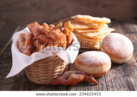 bugnes, angel wings, donut  - stock photo