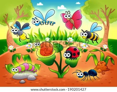 Bugs + 1 snail with background. Funny cartoon and raster illustration. - stock photo
