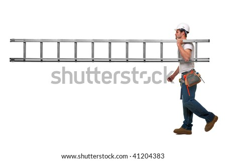 Builder carrying a ladder with nobody on the other end, isolated on white background with plenty of copy space. - stock photo