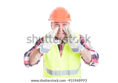 Builder in safety uniform announcing something loud isolated on white background - stock photo