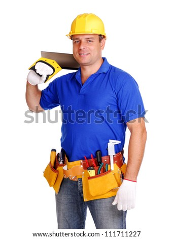 Builder on white background holding the tool on his shoulder - stock photo