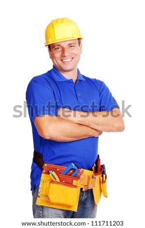 Builder on white background smiling - stock photo