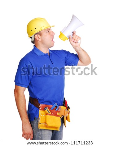 Builder shouting loud into the megaphone on white background - stock photo