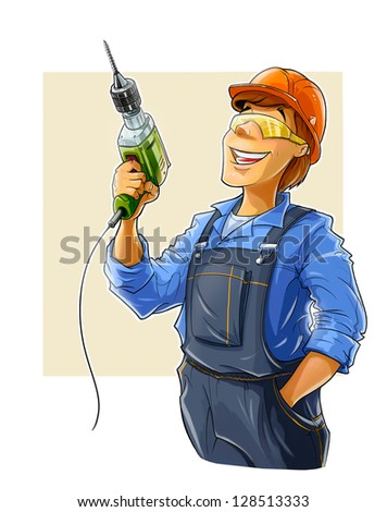 builder with drill  illustration isolated on white background - stock photo