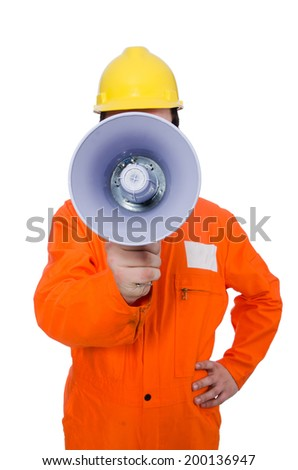 Builder with loudspeaker isolated on white - stock photo