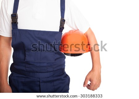Builder with orange hardhat isolated on white background - stock photo
