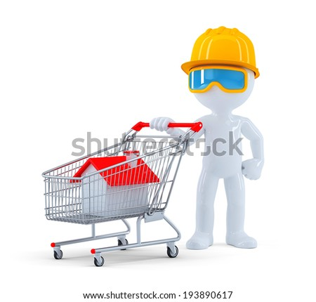 Builder with shopping cart. Real Estate shopping. Isolated. Contains clipping path - stock photo