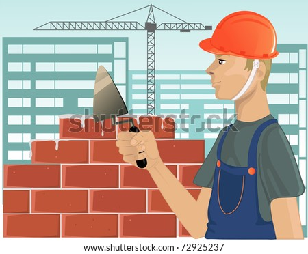 Builder with trowel - stock photo