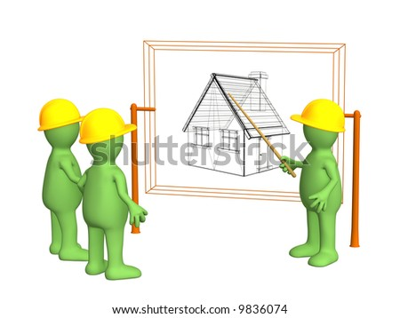 Builders - puppet, discussing the project of a building. Objects over white - stock photo
