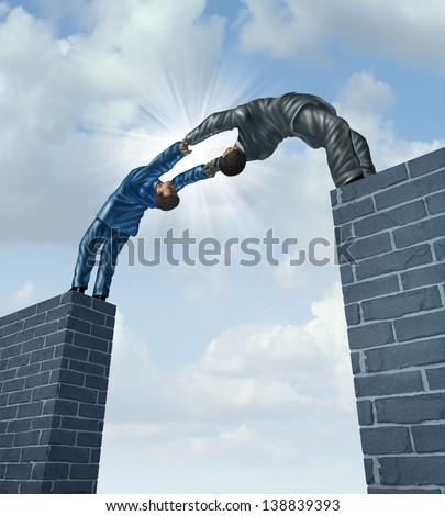 Building a bridge with a business team of two businessmen working together in a strong support partnership bridging the gap to connect in  a successful solution to financial challenges. - stock photo