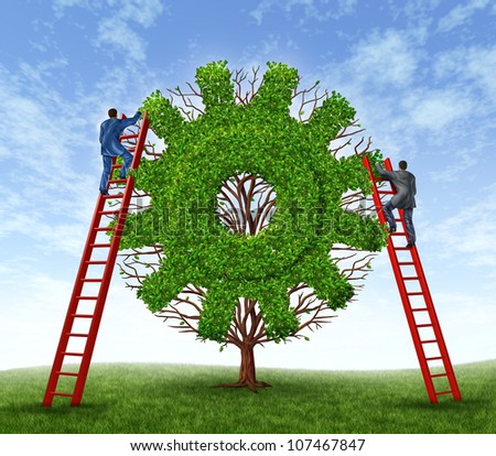 Building a business and growing financial success with a team represented by a tree in the shape of a gear or cog and business men climbing red ladders to care for the growth of the plant. - stock photo