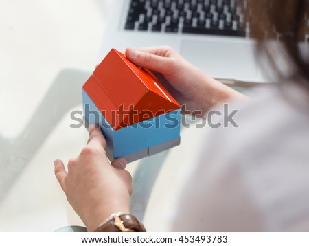 Building a home concept. making house out of pieces. Building blocks home - stock photo
