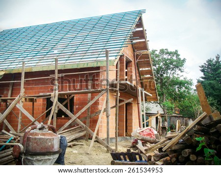 Building a new european style house - stock photo