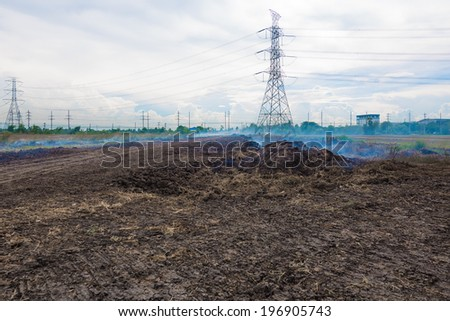 Building a new road shaping a ground traces of the machine on the ground - stock photo