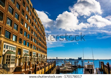Building along the waterfront in Rowes Wharf, Boston, Massachusetts. - stock photo