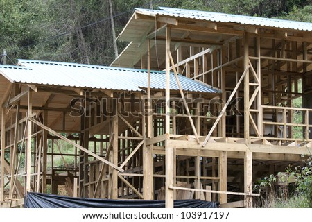 Building an ecological wooden house - stock photo