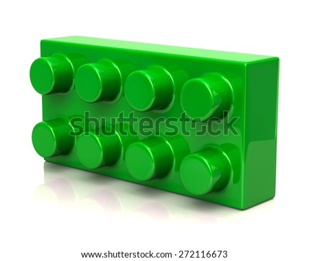 Building and construction green toy brick - stock photo
