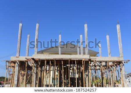 Building and Construction house, new residential construction site, new home - stock photo