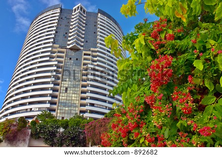 Building and flowers - stock photo