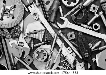 Building and measuring tools - stock photo