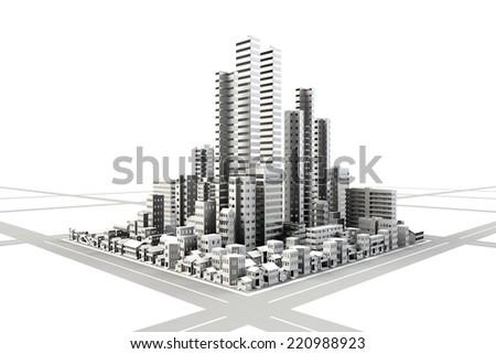 Building area of ??monotone - stock photo
