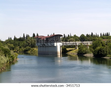 Building at California State University Sacramento in River - stock photo