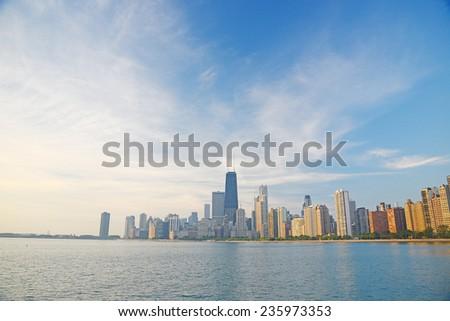 building at chicago along lake michigan shore - stock photo