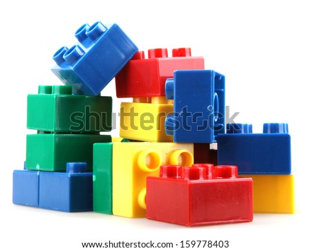 Building Blocks Isolated On White - stock photo