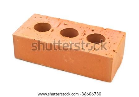 Building brick on white background - stock photo