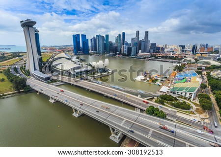 Building bridges to see the beautiful river view. - stock photo