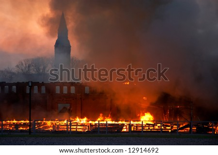 building burning down - stock photo
