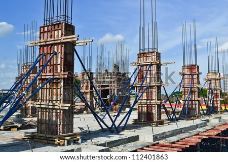 building cement pillar in construct site - stock photo