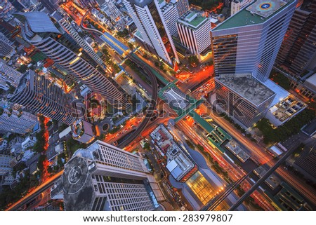 Building city abstract top view - stock photo