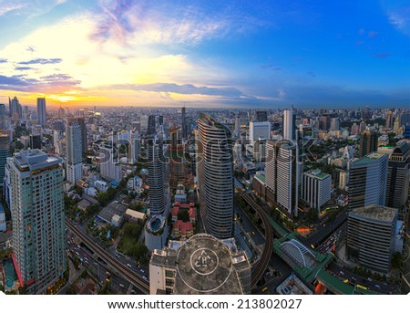 Building cityscape in Thailand - stock photo