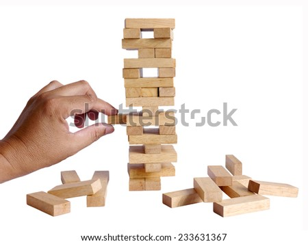Building collapse games isolated on white background - stock photo