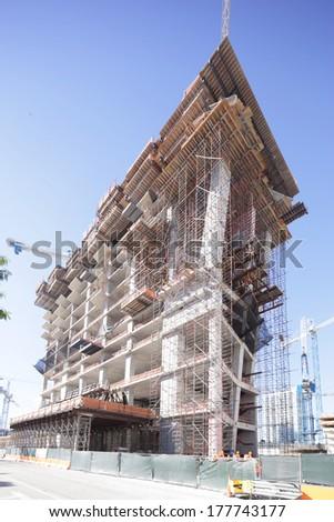 Building construction at Brickell Miami circa 2014 - stock photo