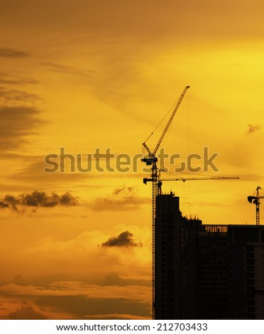 building construction silhouette  - stock photo