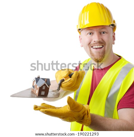 Building contractor presenting your new home isolated on a white background - stock photo