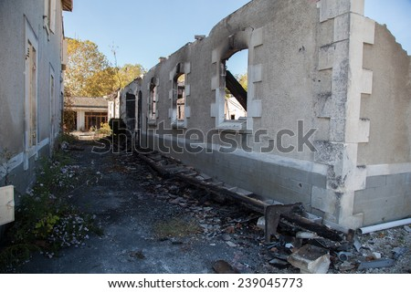 Building demolition - stock photo