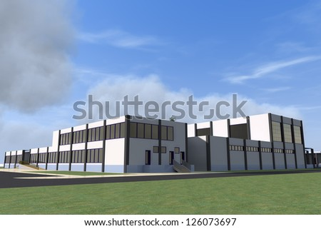 Building design, architecture visualization in photo realistic style - stock photo