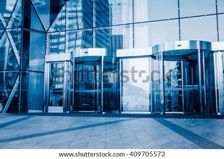 building entrance,shanghai china. - stock photo