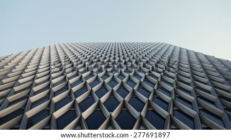 Building Facade in Sunset - stock photo