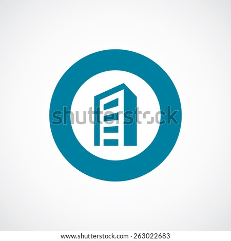 building icon bold blue circle border, white background  - stock photo